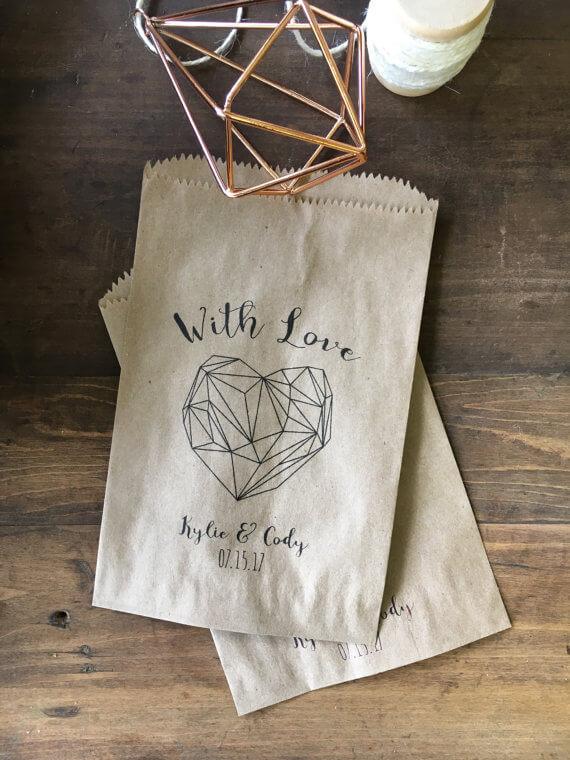 Geometric Heart Favor Bags