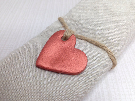 Copper Wedding Favours, Copper Hearts, Wedding Decor, Heart Tags, Clay Tags, Gift Tags, Napkin Rings, Christmas Gift Tags, Tree Decorations.
