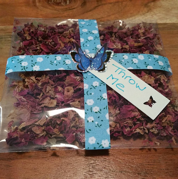 Throw Me Blue Flower and Butterfly Confetti Bags with Confetti included
