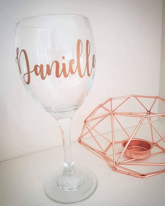 Personalised Name Vinyl Decal Sticker For Wine Glass Wedding Gift
