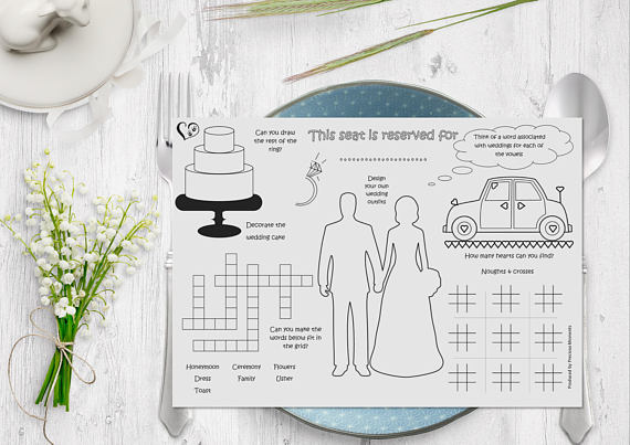 Kid Wedding Activity Placemat