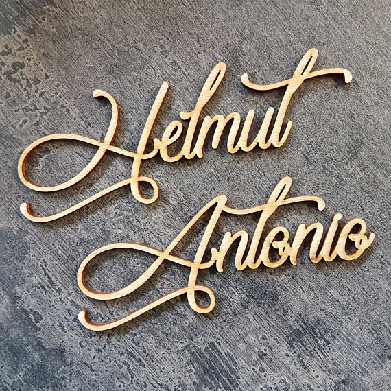 Laser Cut Name Signs for Wedding Place Settings