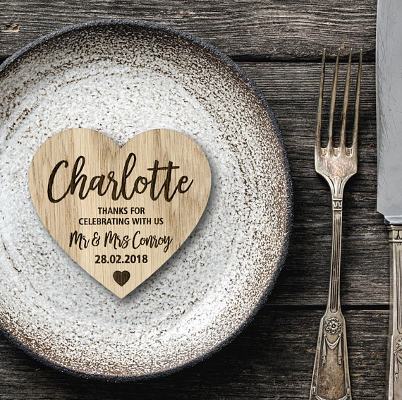 Wooden Wedding Table Name Setting - Cheap Wedding Favours That Doubles As A Place Setting!