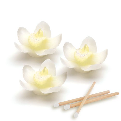 White Orchid Flower Wedding Favour Candles