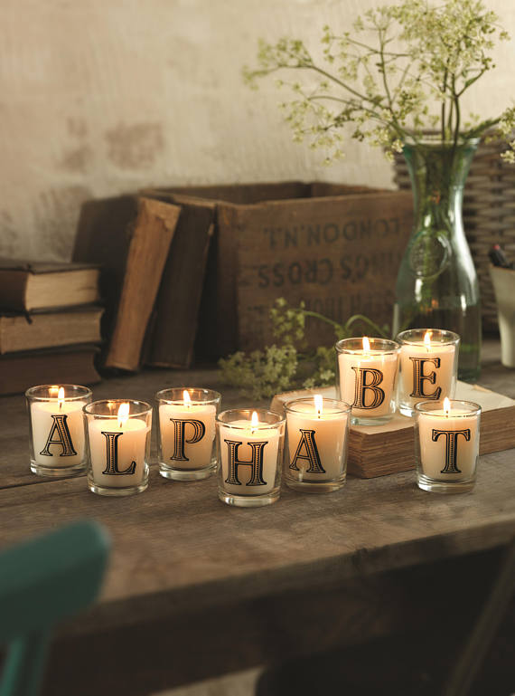 Personalised Initial Candle Scented with Dark Vanilla Musk