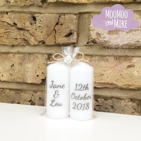 Personalised Wedding Candles Set