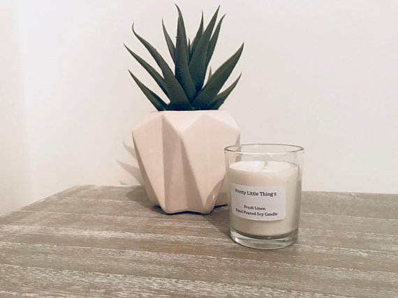 Fresh Linen Fragrance Votive Glass Candle
