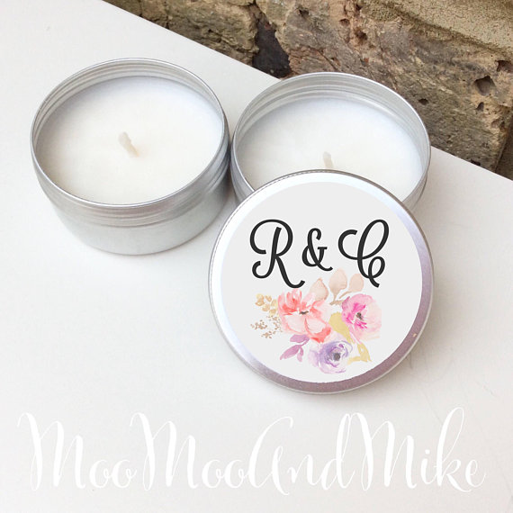 Personalised Tin Wedding Favour Candles