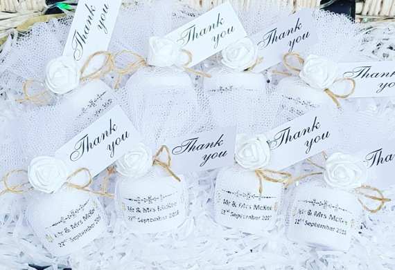 Rustic Shabby Chic Personalised Wedding Candle Favours