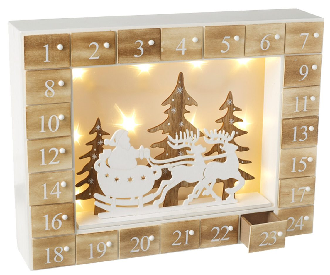 LED Christmas Wooden Advent Box