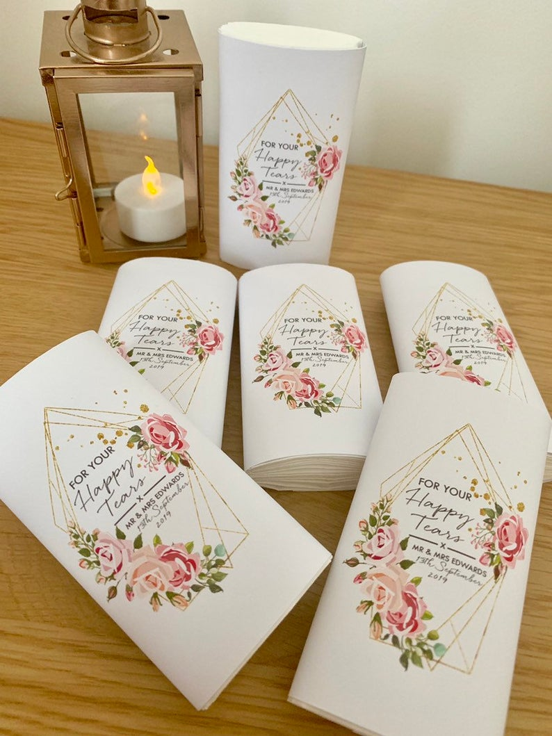 Happy Tears Tissues | 100 Cheap Wedding Favour Ideas For Under £1 Each! | realwedding.co.uk