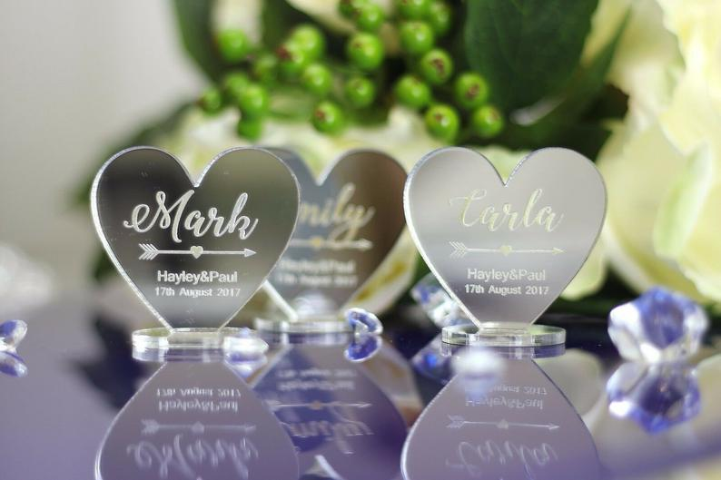 Personalised Mirror Acrylic Hearts  | 100 Cheap Wedding Favour Ideas For Under £1 Each! | realwedding.co.uk