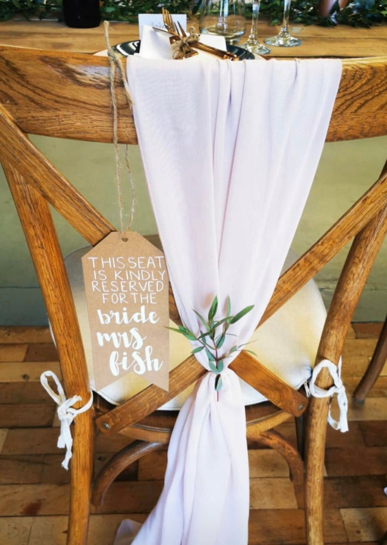 realwedding.co.uk | 100 Cheap Wedding Favour Ideas For Under £1 Each! | Personalised Wedding Chair Signs