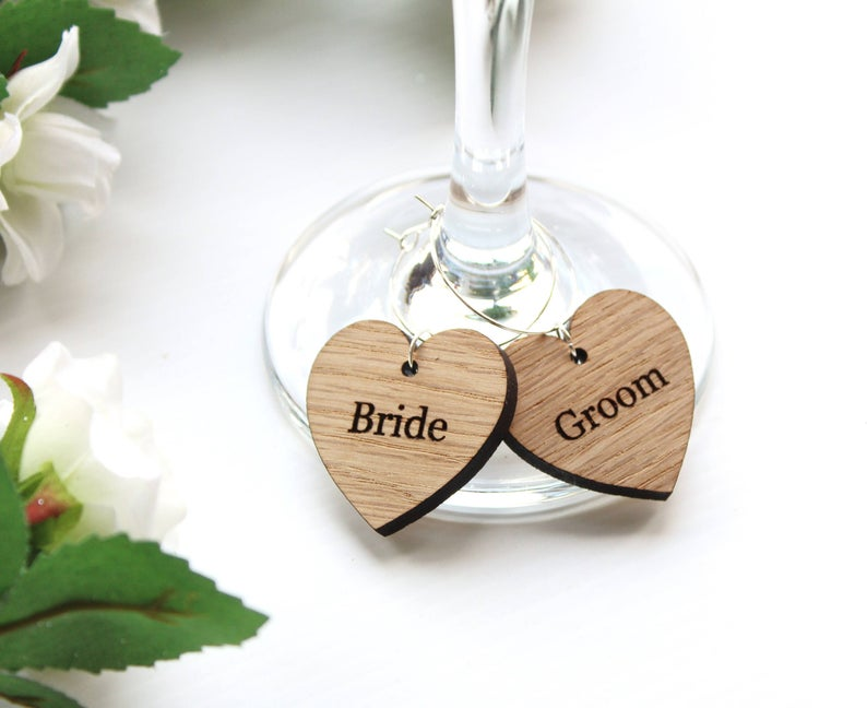 realwedding.co.uk | 100 Cheap Wedding Favour Ideas For Under £1 Each! | Wooden Wine Glass Charms