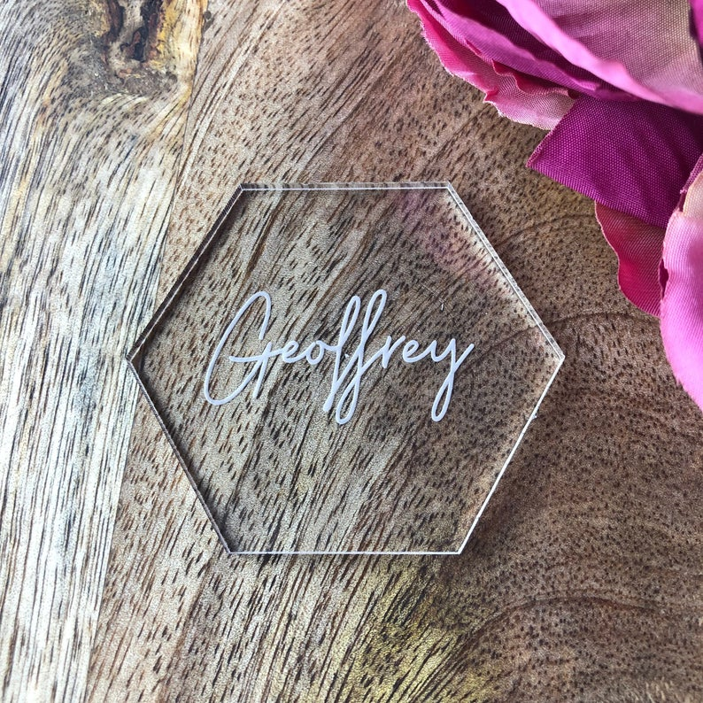 realwedding.co.uk | 100 Cheap Wedding Favour Ideas For Under £1 Each! | Hexagon Table Place Name