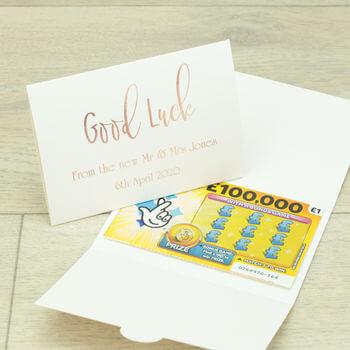 Rose Gold Lottery Ticket Wedding Favour Wallet l realwedding.co.uk | 100 Cheap Wedding Favour Ideas For Under £1 Each! | Rose Gold Lottery Ticket Wedding Favour Wallet