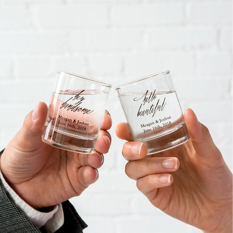 realwedding.co.uk | 100 Cheap Wedding Favour Ideas For Under £1 Each! | Personalised Shot Glasses