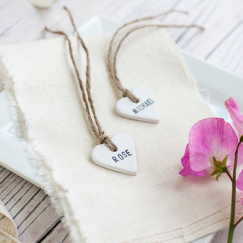 realwedding.co.uk | 100 Cheap Wedding Favour Ideas For Under £1 Each! | Personalised Clay Heart Place Tags