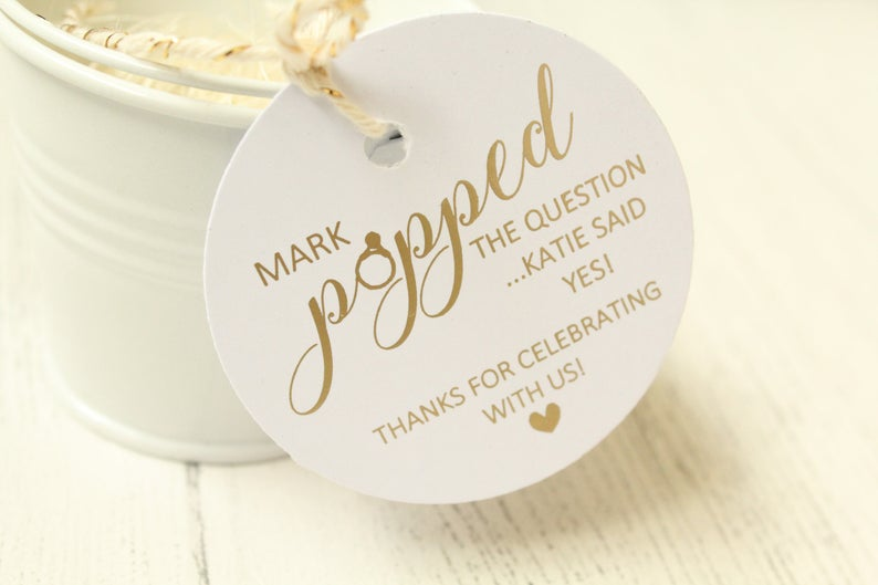 Personalised Popped the Question Favour Tags | 100 Cheap Wedding Favour Ideas For Under £1 Each! | realwedding.co.uk