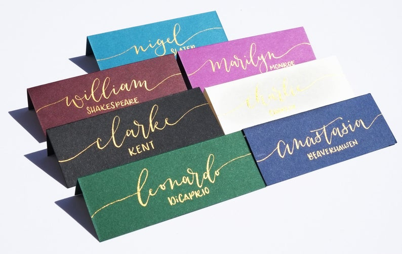 Wedding Calligraphy Place Cards realwedding.co.uk | 57 Wedding Favour Ideas Under £1 |