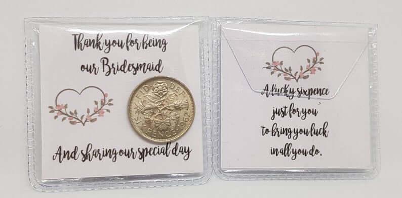 Lucky Sixpence Wedding Favour l realwedding.co.uk | 57 Wedding Favour Ideas Under £1 |