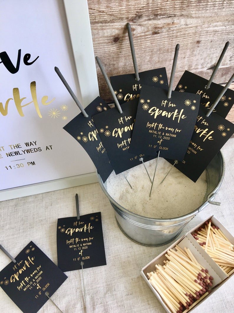 Let love Sparkle' Wedding Sparkler Tags  l realwedding.co.uk | 57 Wedding Favour Ideas Under £1 |