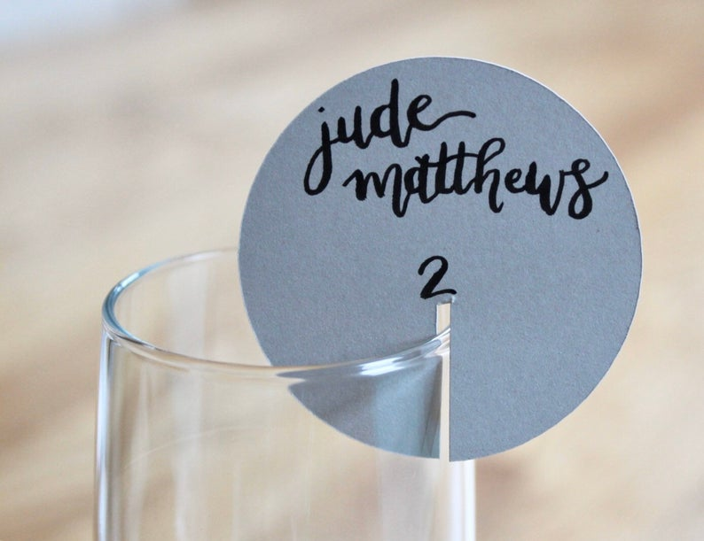 Custom Champagne Circle Event Place Cards l realwedding.co.uk | 57 Wedding Favour Ideas Under £1