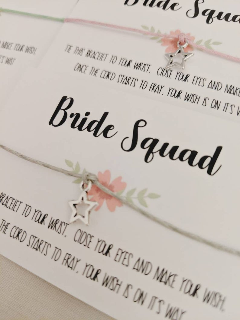 Bride Squad Wish Hen Party Bracelets l realwedding.co.uk | 57 Wedding Favour Ideas Under £1 |