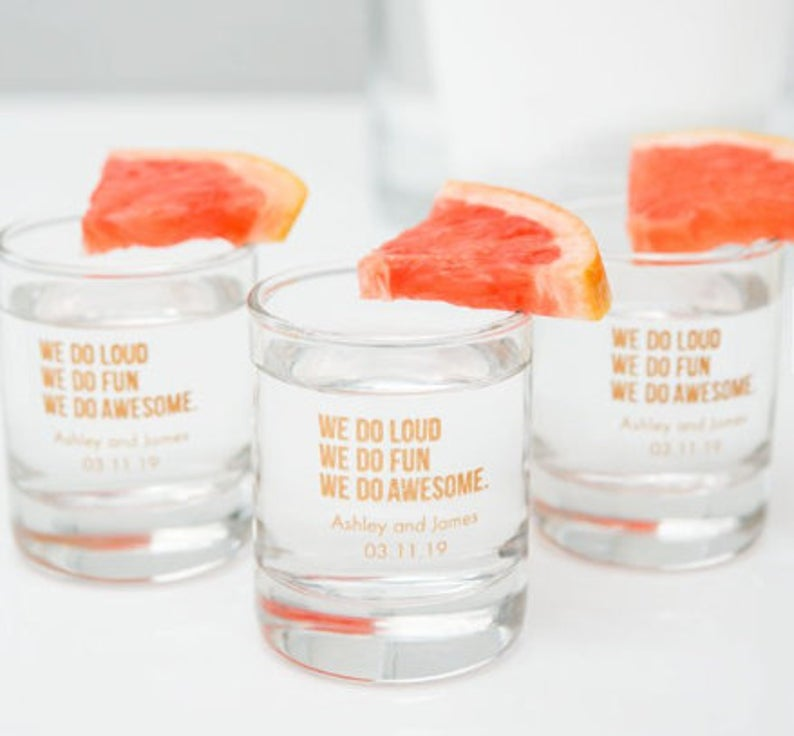 Personalised Shot Glasses  l realwedding.co.uk | 57 Wedding Favour Ideas Under £1 |