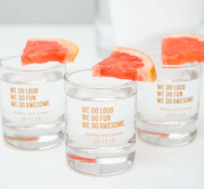 Personalised Shot Glasses  l realwedding.co.uk | 57 Wedding Favour Ideas Under £1 |