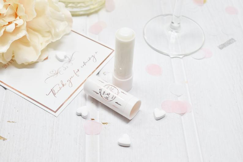 Personalised Rose Gold Lip Balm Wedding Favour l realwedding.co.uk | 57 Wedding Favour Ideas Under £1 |