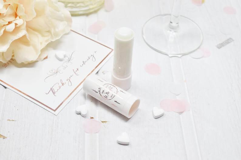 Personalised Rose Gold Lip Balm Wedding Favour l realwedding.co.uk | 57 Wedding Favour Ideas Under £1 |