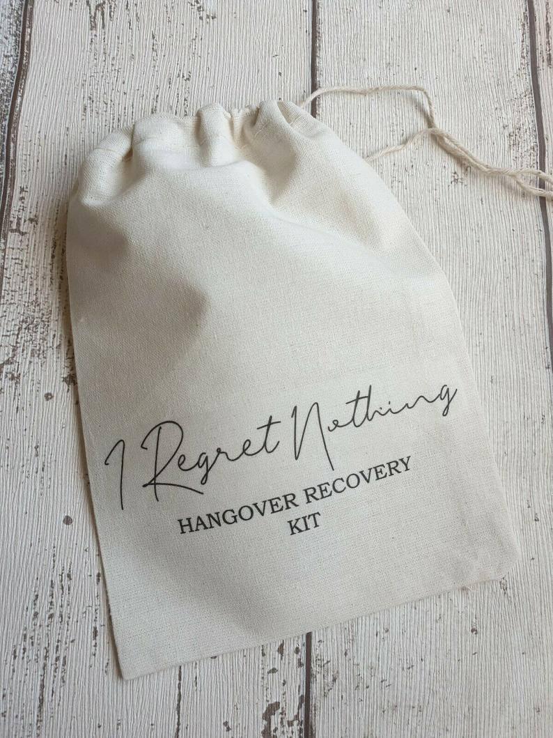 I Regret Nothing Wedding Recovery Kit l realwedding.co.uk | 57 Wedding Favour Ideas Under £1 |