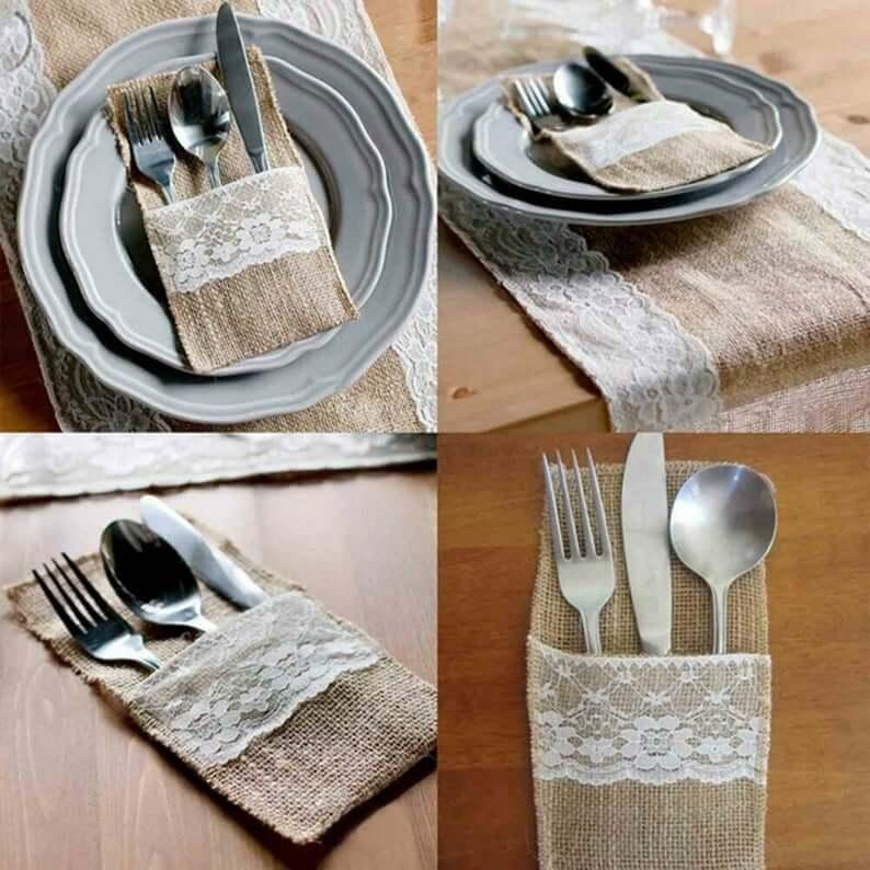 realwedding.co.uk | 57 Wedding Favour Ideas Under £1 | Vintage Hessian Burlap Tableware Pouch