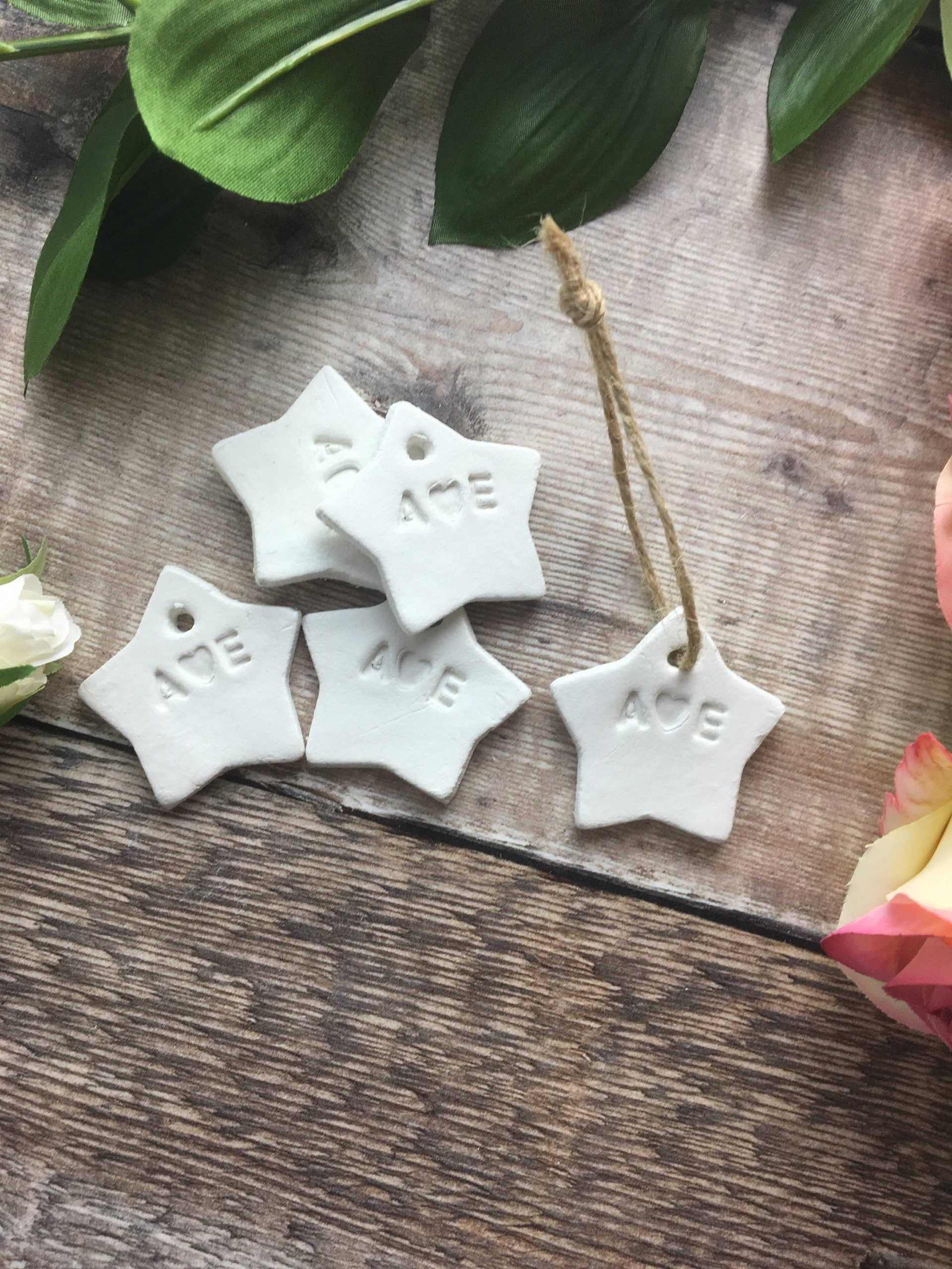 Personalised Clay Star Wedding Favours for under 50p