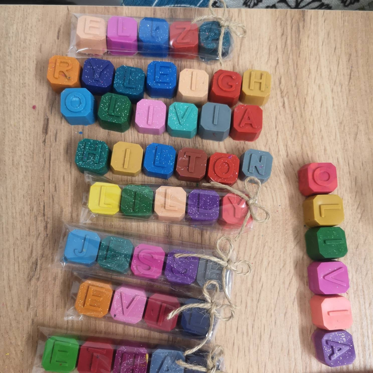 Personalised Cube Letter Crayons - A Great 50p Wedding Favour For The Kids