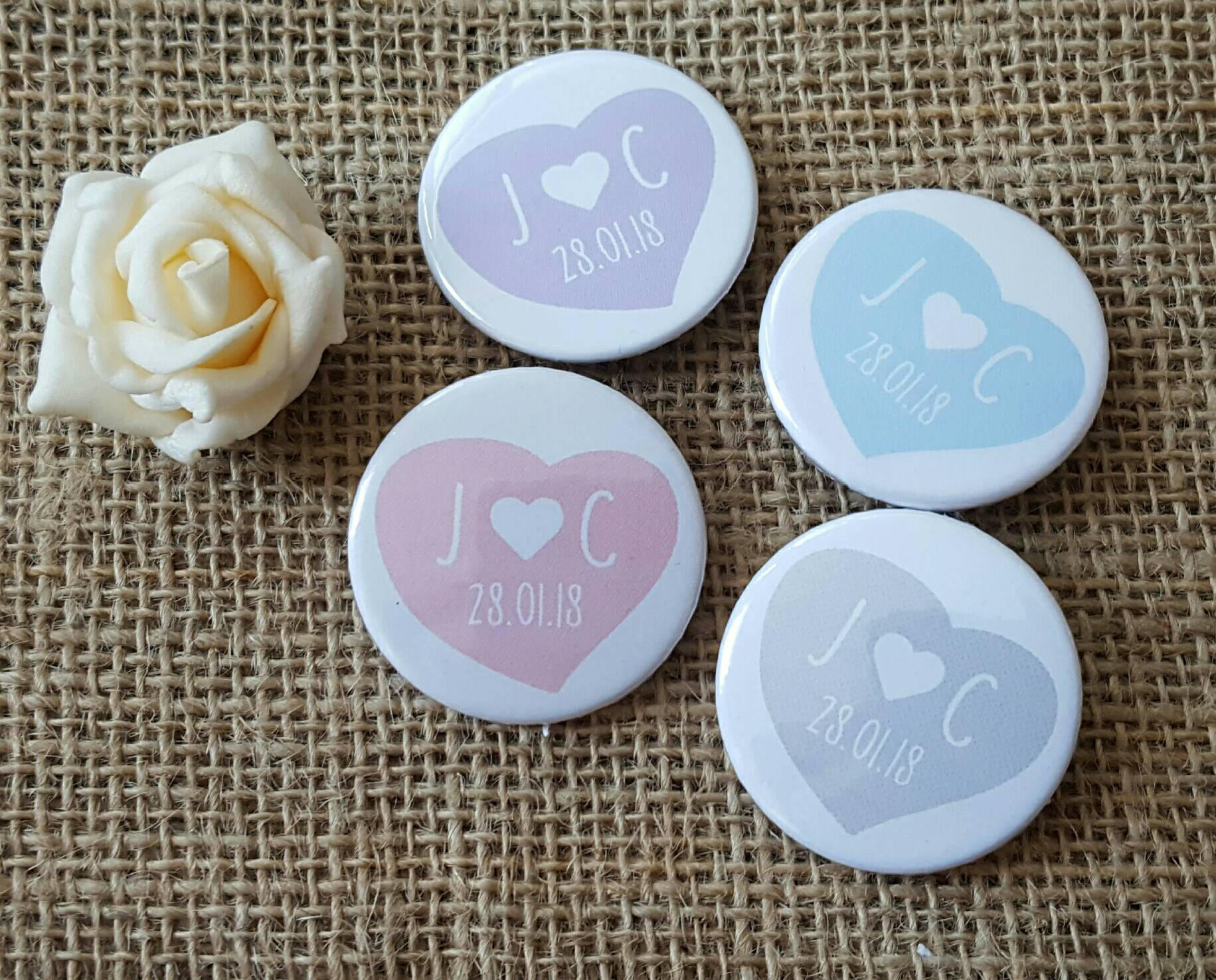 Quirky Pastel Love Heart Badges - Cute 50p Wedding Favours