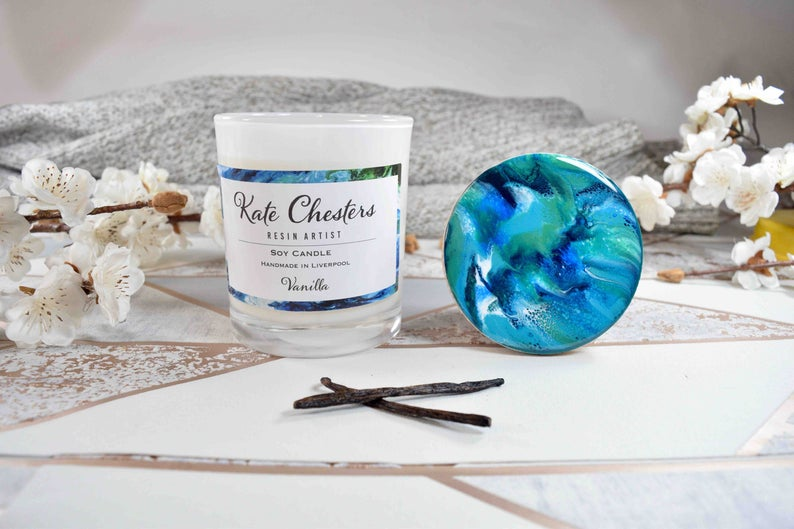 Vanilla Candle Natural Soy Wax with Resin Art Lid