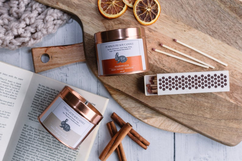 Chai Latte and Pumpkin Pie Soy Candles with Essential Oils - Brilliant For Autumn Wedding Favours