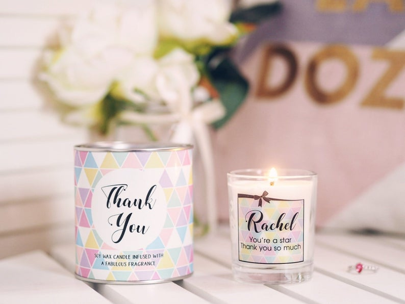 Token Thank You Candle Wedding Favours