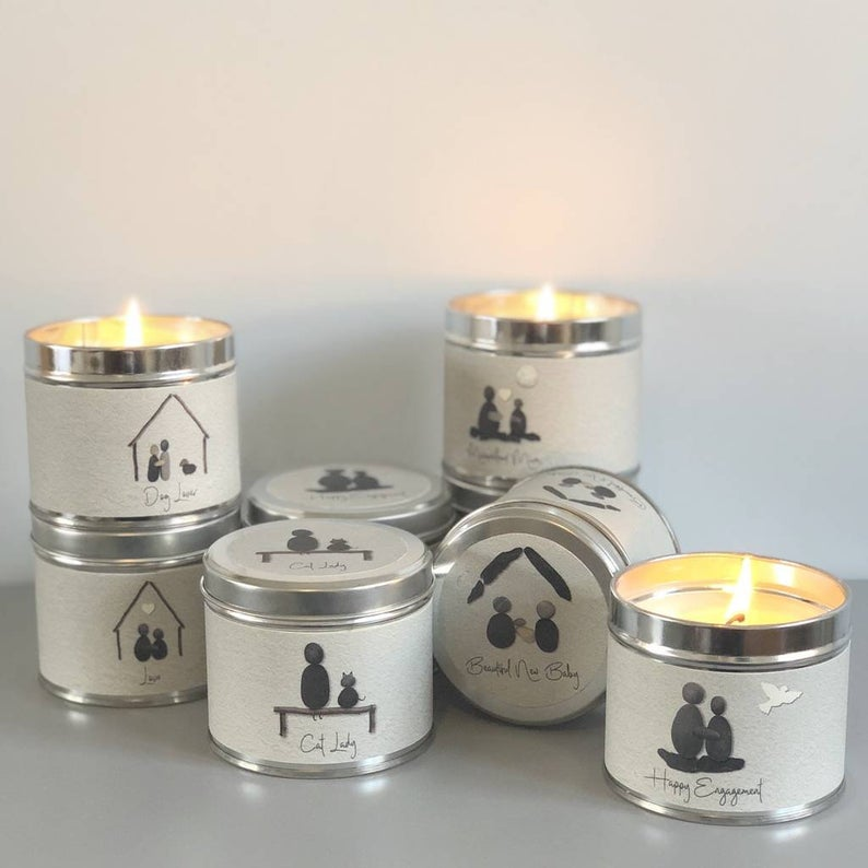 Pebble People Tin Wedding Favour Candle