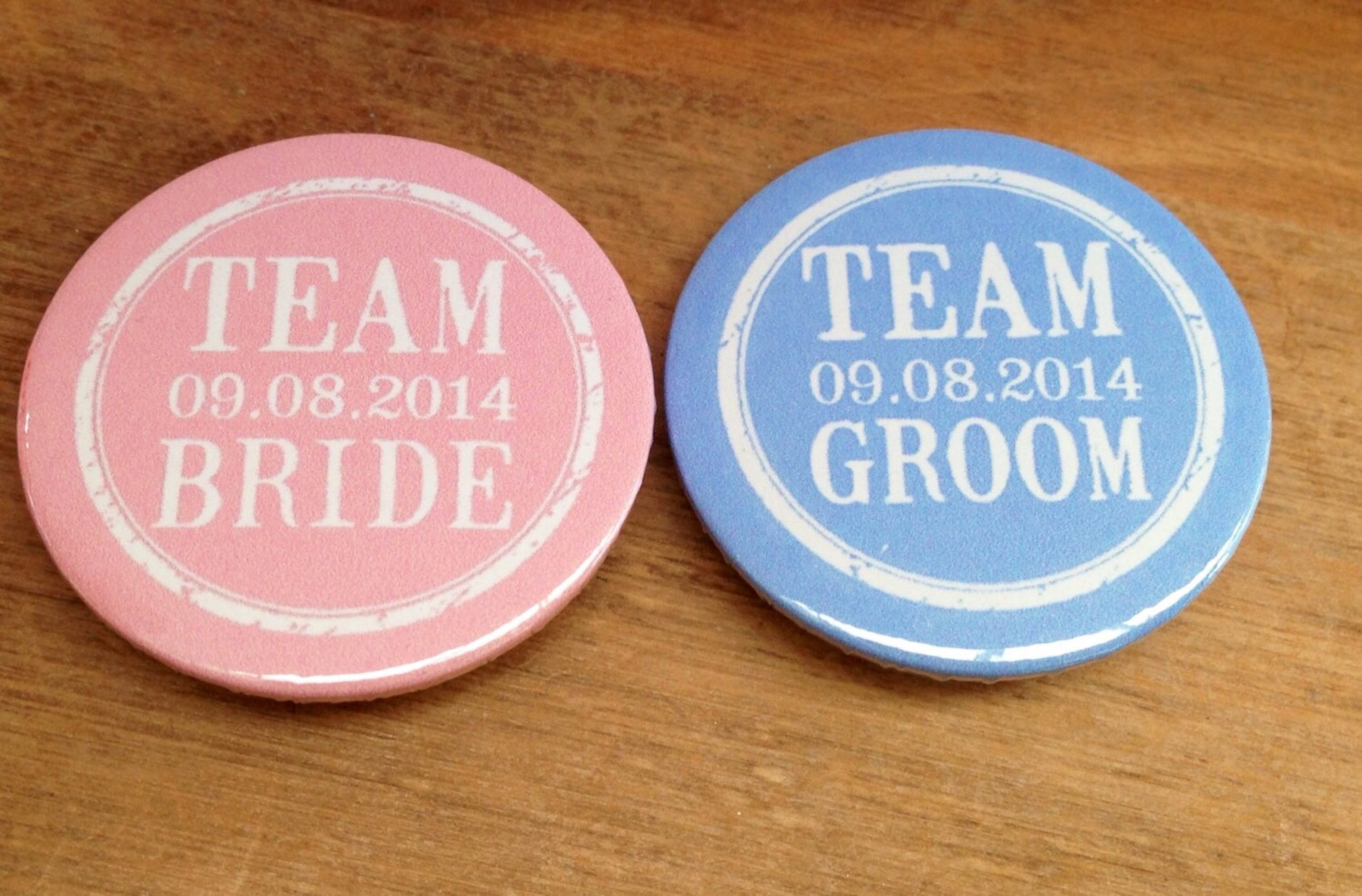 Personalised Team Bride and Groom badges
