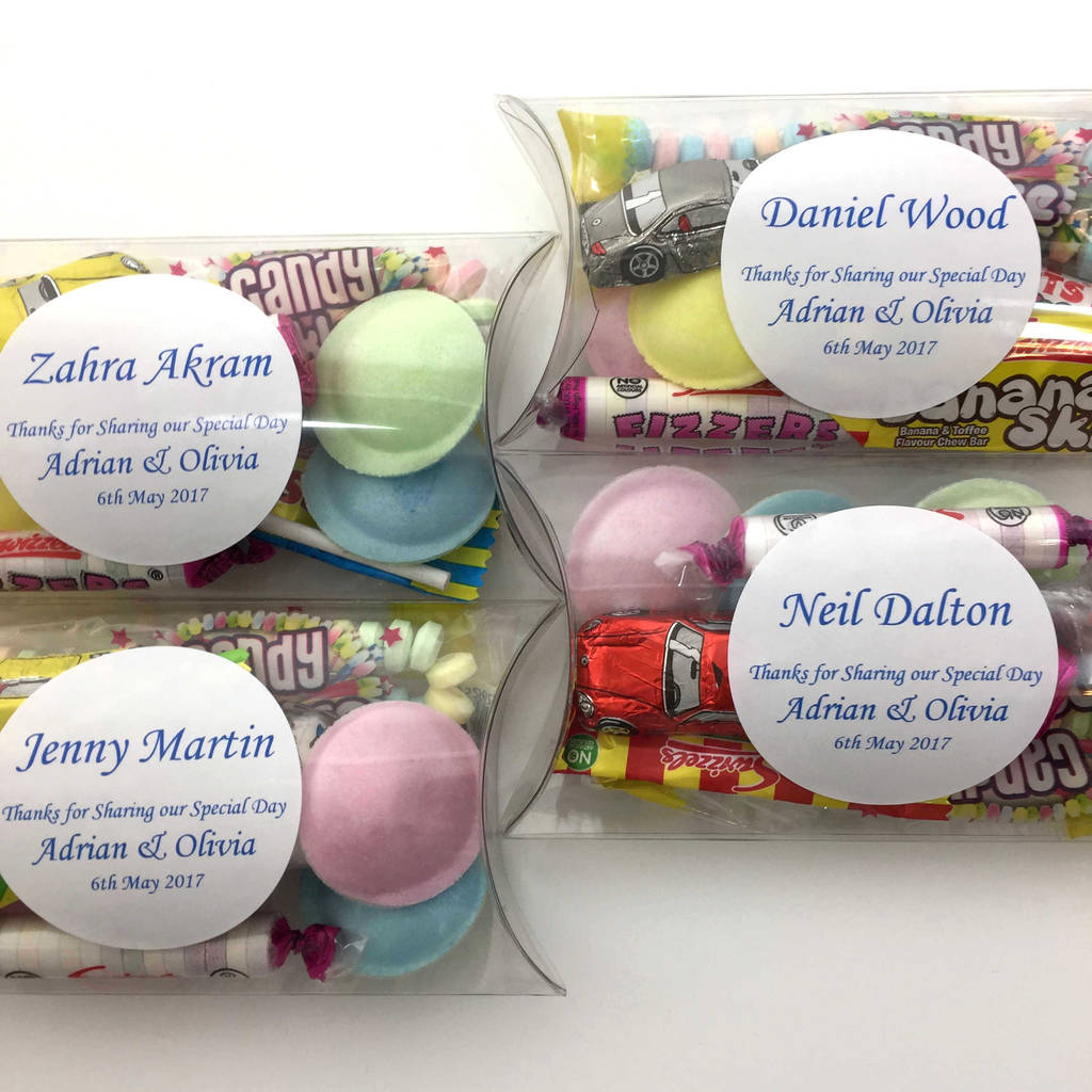 Personalised Wedding Favour With Retro Sweets