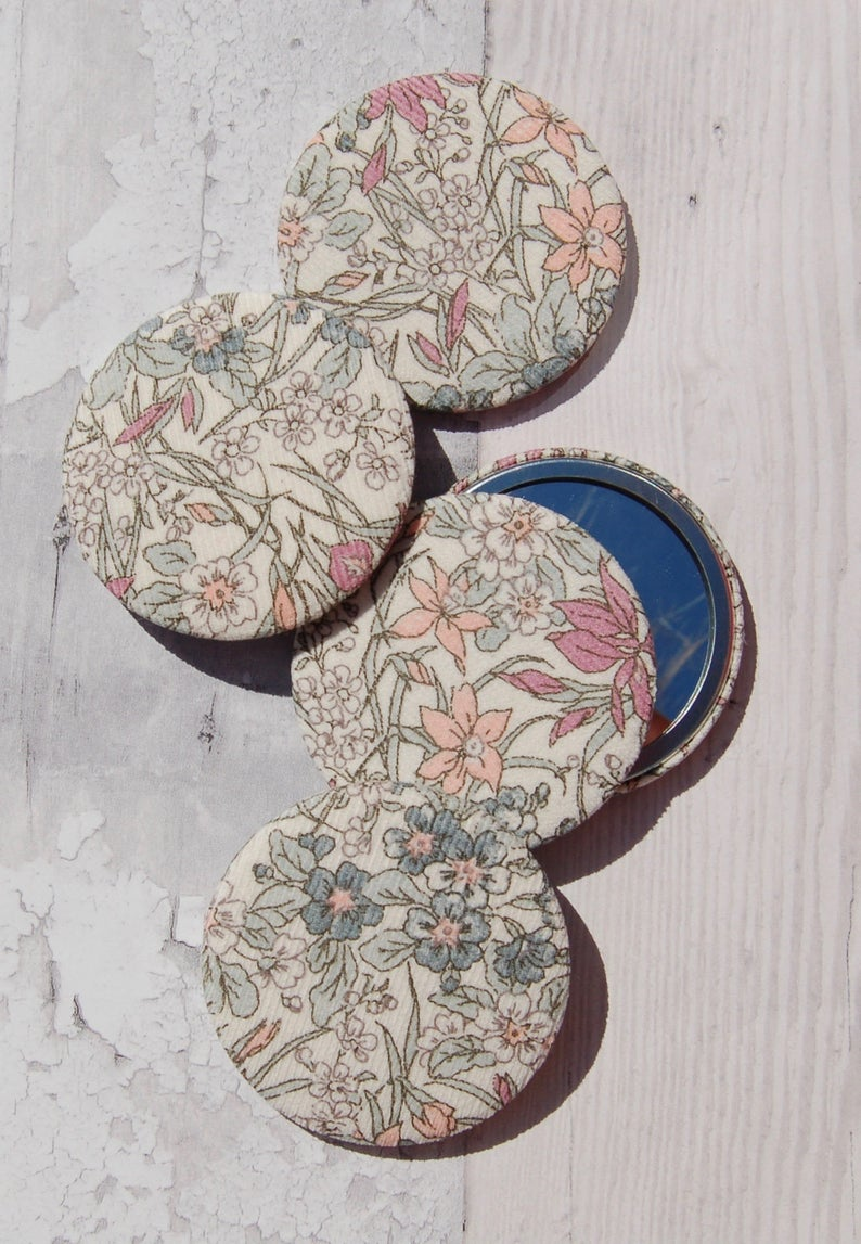 Fabric Covered Pocket Mirror
