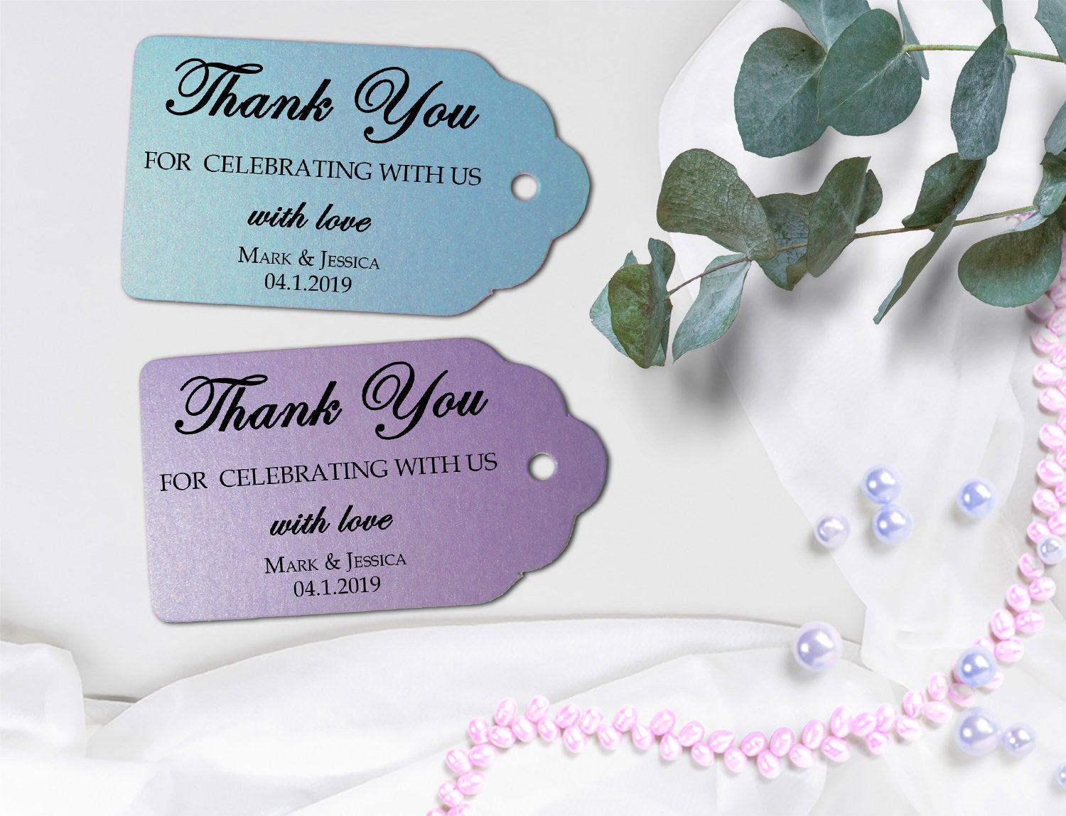 Shimmer Thank You Tags