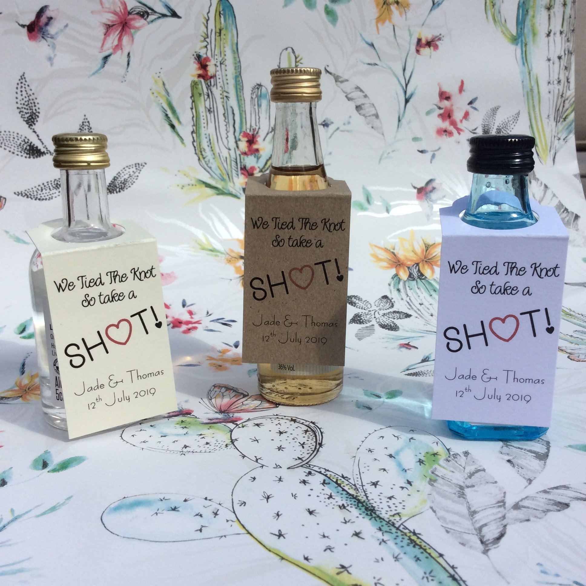 Wedding Favour Tags for miniature bottles