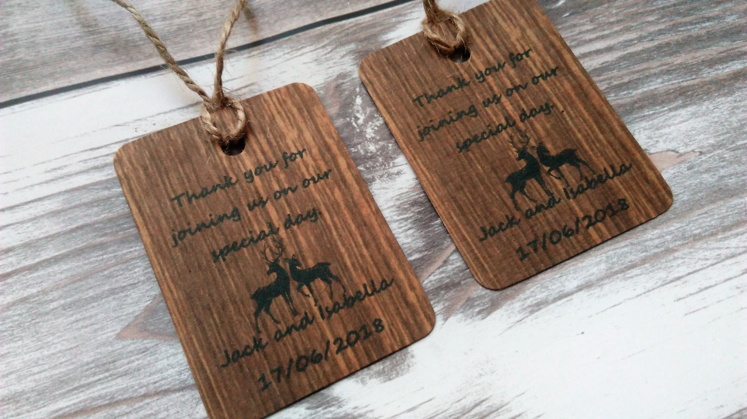 Woodland wedding favour tags