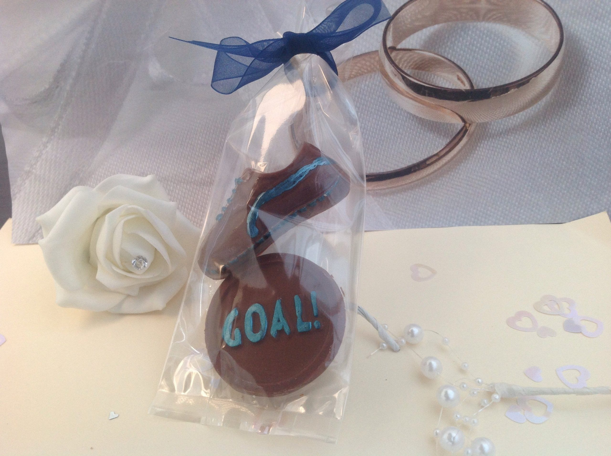 chocolate football wedding favours